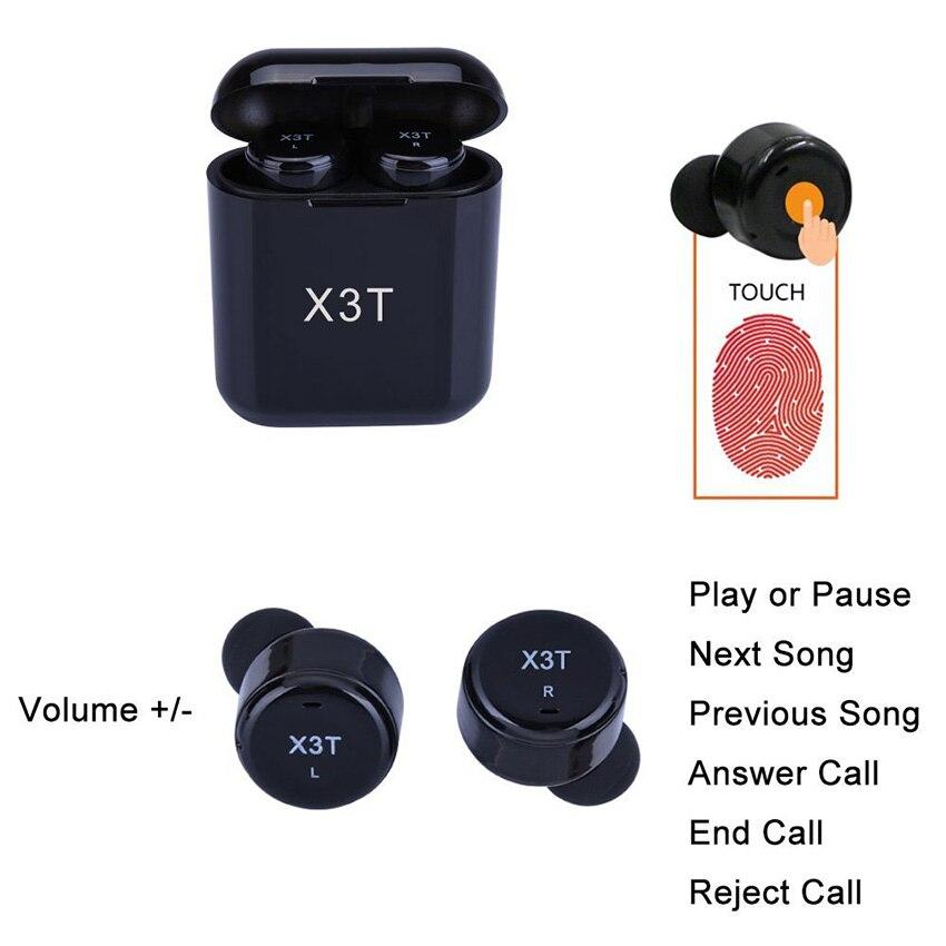 Aimitek X3T TWS Bluetooth Écouteur Mini Vrai Sans Fil Stéréo Casque In-Ear Eabud w/Chargeur Boîte pour Téléphones (mis à jour X2T X1T) - 3