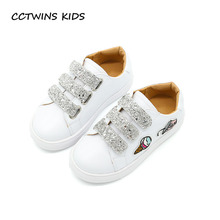 CCTWINS KIDS 2017 Toddler Fashion Embroidery Children Pink Glitter Trainer Kid Boy Sport Baby Girl Brand White Sneaker F1846