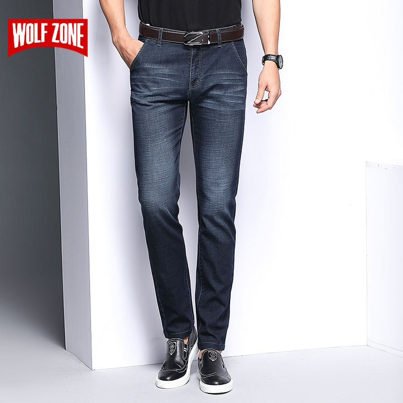 2018 New Jeans Men Slim Casual Mid Waist Straight Denim Jeans Mens Classic Casual Fashion Black-Blue Wear-resistant Trousers