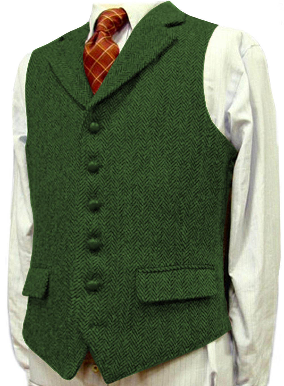 Mens Suit Vest Lapel V Neck Wool Herringbone Waistcoat Casual Formal Business Groomman For Wedding Green/Black/Brown/Green/Grey