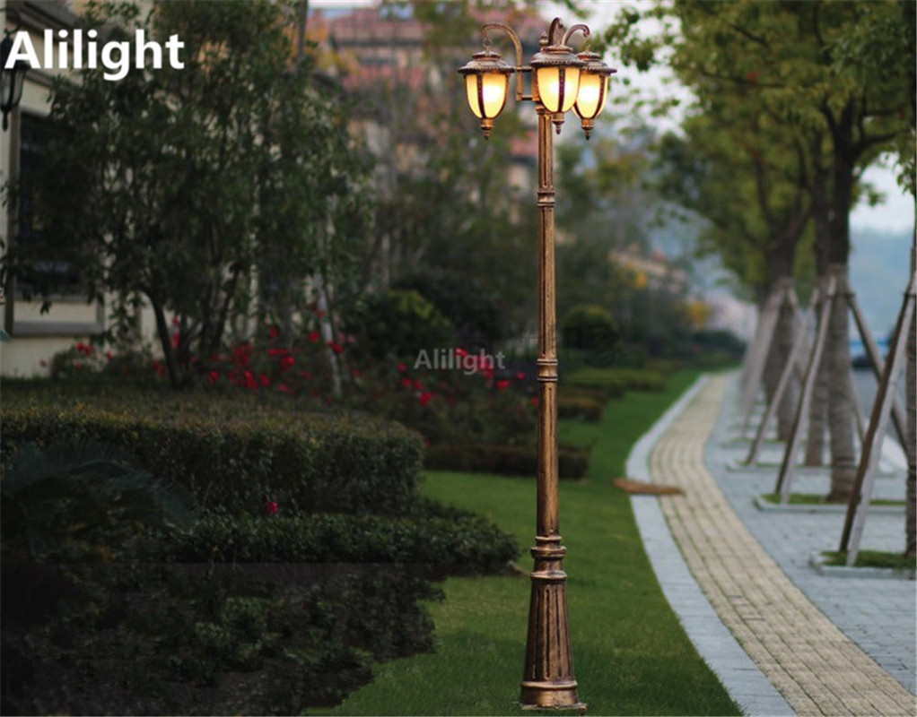 Europe Garden Outdoor Lighting Poles Black/bronze Classical Landscape Lighting  Lamp 2M/2.5M/2.9M Aluminum AC 100 240V Fixtures