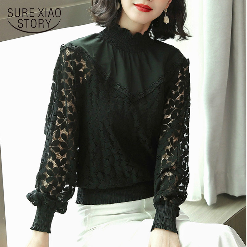 2018 winter lace women   blouses     shirt   long sleeve black loose fashion casual blusa clothes floral womens tops and   blouses   1570 45