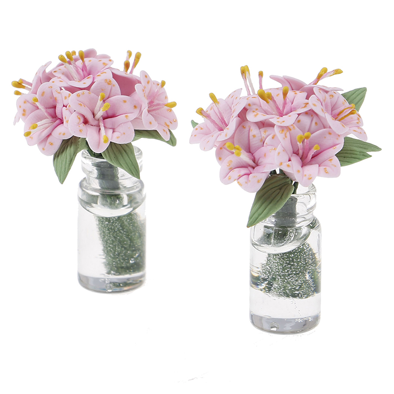 Exquisite 1//12 Resin Flowers Vases Dollhouse Miniature Accessories Random