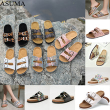 2019 New Summer Beach Cork Slippers Casual Double Buckle Clogs Slides Women Slip On Flip Flop Shoe Plus Size Zapatos Mujer gktinoo genuine leather shoes hollow slippers handmade slides flip flop on the platform clogs for women woman slippers plus size