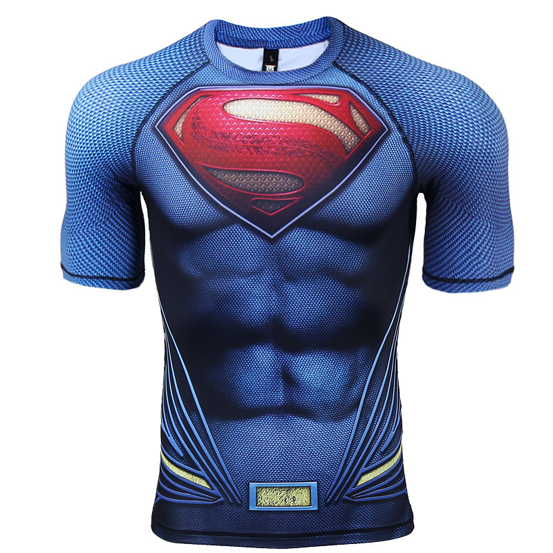 Superman short sleeve compression t shirt comicstoy for Compressed promotional t shirts