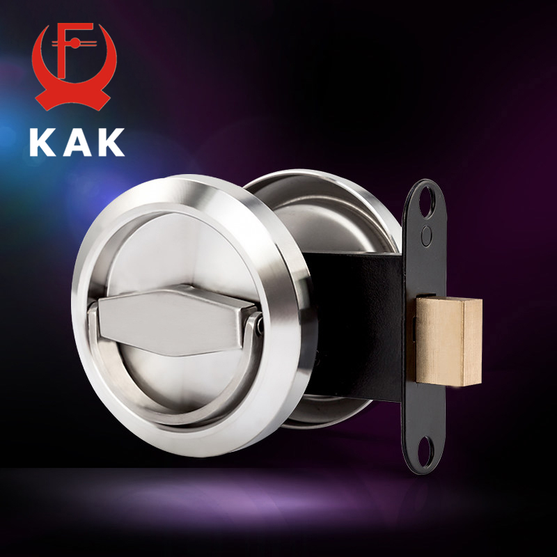 KAK Stainless Steel 304 Recessed Invisible Cup Handle Privacy Hidden Door Locks Cabinet Pulls Handle Fire Proof Disk Ring Lock hot sale black stainless steel 304 recessed cup handle privacy sliding and hidden door locks door handle with lock kf422