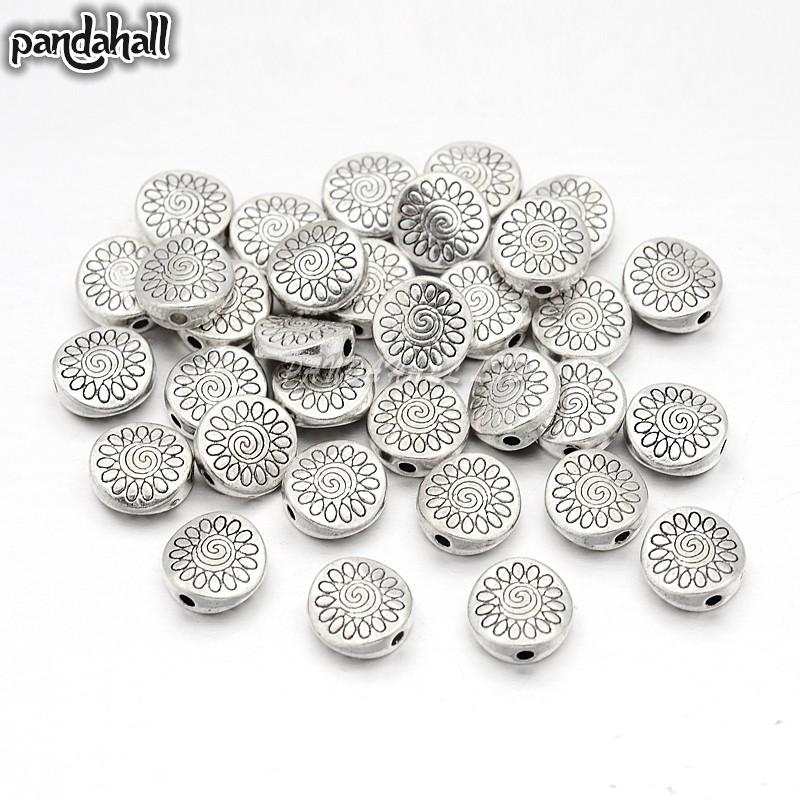 Tibetan Style Beads Flat Round Lead Free Nickel Free Cadmium Free Antique Silver Color About 8.5mm Long 8.5mm Wide 3.5mm Thick