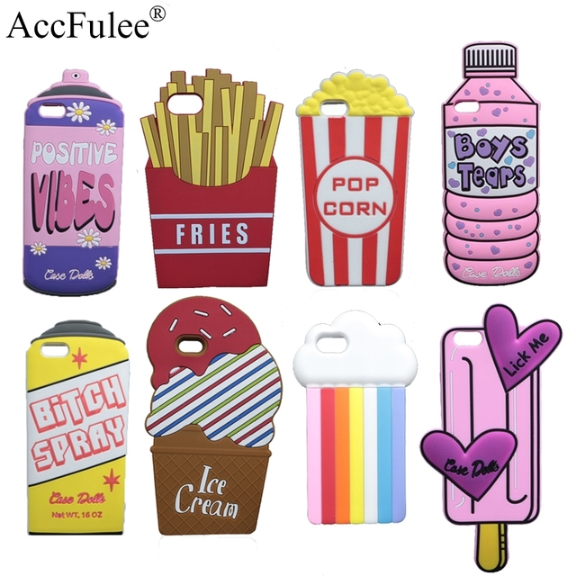 best service e466f 3807f US $2.79  3D Cute Spray Paint Soft Case For iPhone X 5 5S SE 6 6S Plus 7 7S  Plus 8 Plus Case Dolls Popcorn Boys Tears Bottle Cover-in Fitted Cases ...