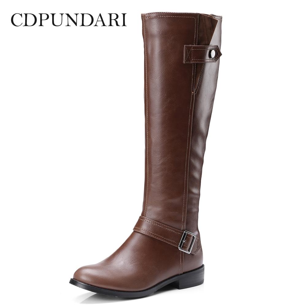 CDPUNDARI PU Low heel Knee High women Winter boots shoes woman botas mujer bottine femme 1pcs vacuum cleaner storage package for dyson v6 v7 v8 dc62 suction head storage bag