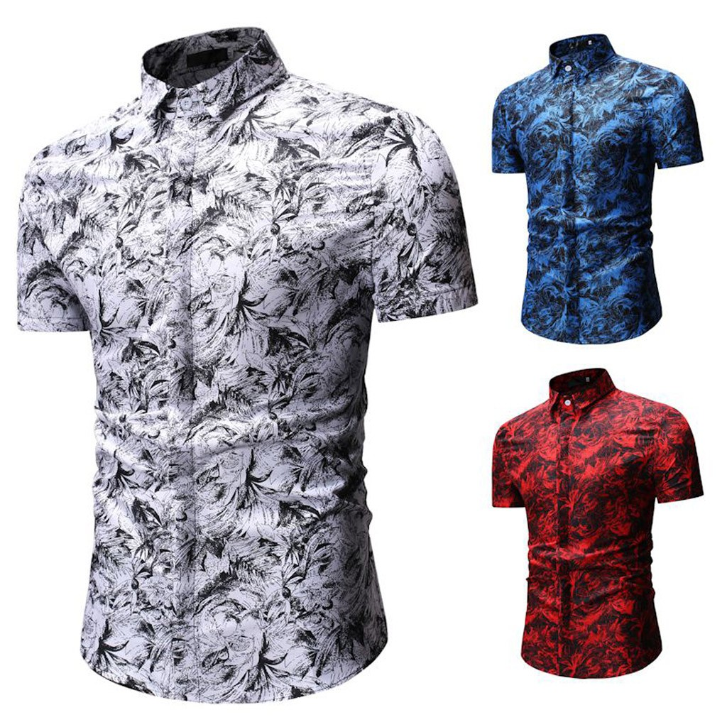 2019 Men's Summer Print Turn-Down Collar Slim Fit Short Sleeve Top Shirt Blouse Camisa Masculina Hawaiian Shirt Streetwear