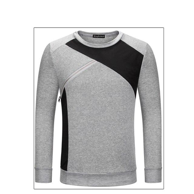 e6a5fa538ff4 Fall 2018 new men round collar fleece Color matching render unlined upper  garment Long sleeve coat