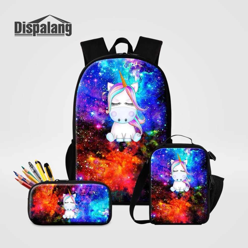 37dd5102c7dd 3 PCS Set Backpack School Bag Pencil Case Lunchbox For Girl Boy Universe  Space Unicorn