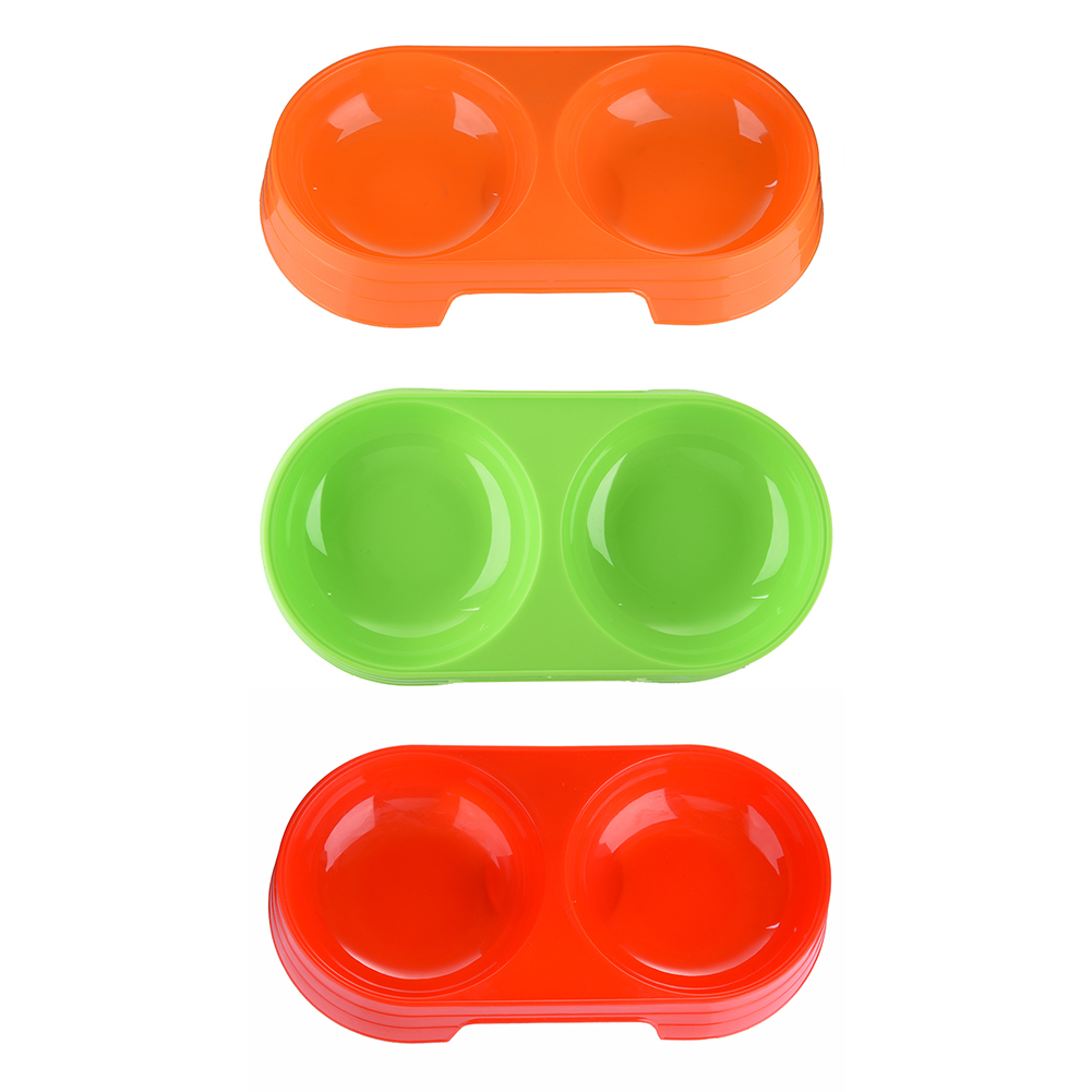 On Sale Three ColorsCat/ Dog Feeder water with Double Bowls Suitable for Cats Plastic Pet Water/Food Bowls Compartment Feeding