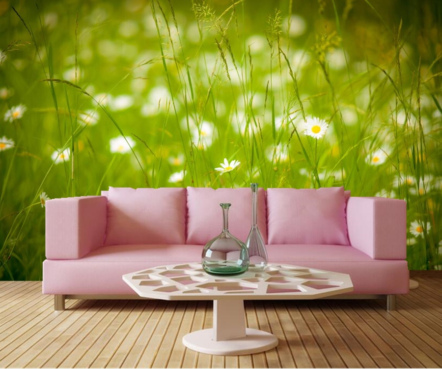 Custom mural papel de parede grasslands summer grass for Nature wallpaper for bedroom