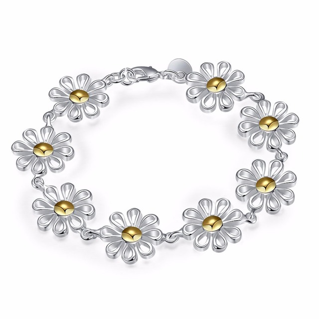 High Quality Jewelry Bacelets Silver Plated Chrysanthemum Flower Charms Bracelets Beauty and Cute Women Accessories Wholesale