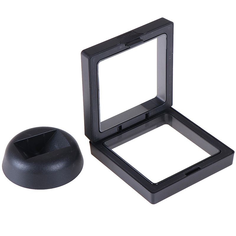 1 Set 70*70mm Black 3D Floating Jewelry Coin Display Frame Holder Box Case With Stand
