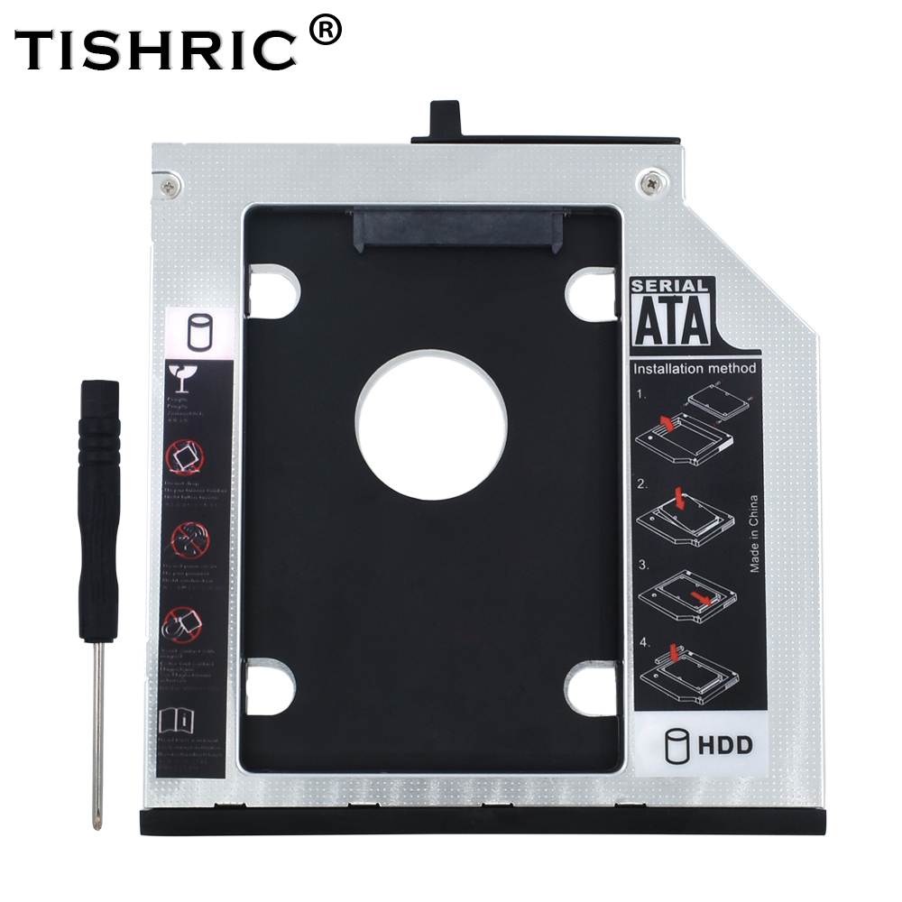 TISHRIC Optical Bay Caddy 9.5mm SATA 2nd 2.5 HDD SSD Hard Drive Enclosure For Lenovo ThinkPad T400s T400 T410 T410s T420s T430s