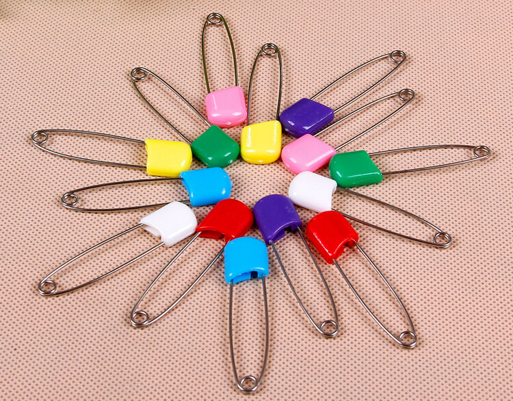 100pcs 5.5cm /55mm large colored plastic hijab Multipurpose baby stainless steel safety pins pins needles free shipping