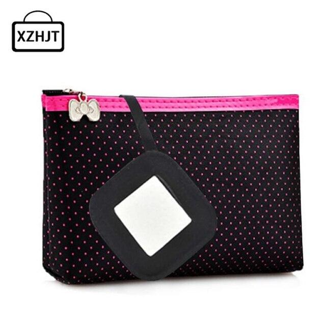 Women Cosmetic Bag Rectangle Shaped Dots pattern Portable Fashion Function Beauty Travel Make Up Bag Makeup Wash Kit Case