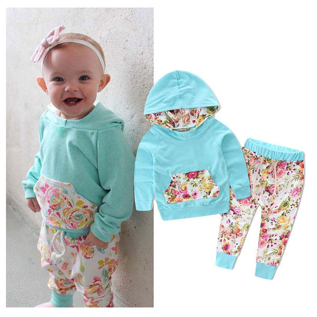 78a47d05 Infant Clothing Girl Hooded Flower Tracksuit Baby Designers Clothes Coat  And Pants Baby Outfit Newborn Baby Girl Clothes