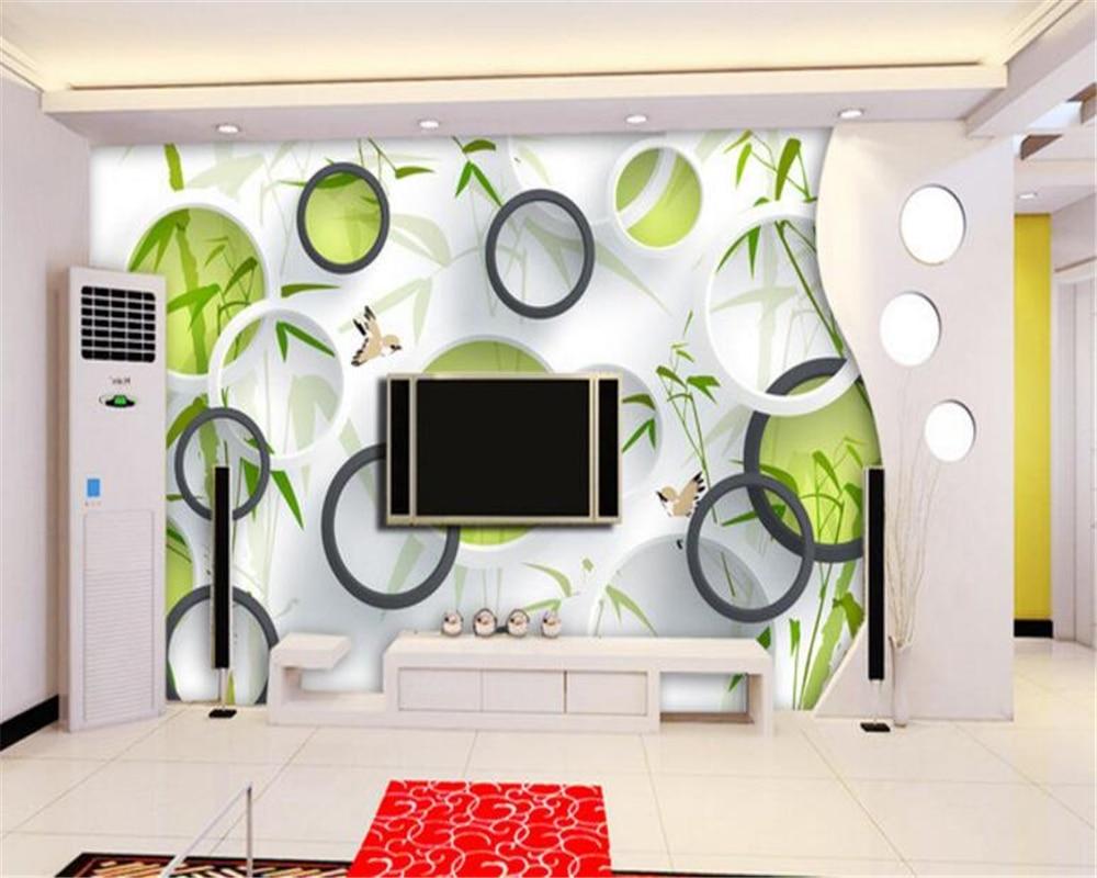 US $8 85 OFF Beibehang Gambar Wallpaper Dinding Hijau Burung Bambu 3D Lingkaran TV Latar Belakang Wallpaper Dinding Untuk Dinding 3 D Papel De