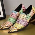Men Fashion Colorful Crocodile Embossed Rivets Pointed Toe Business Oxfords T Show Party Heighten Leather Shoes England Style