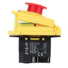 Kedu KJD17 GF Start Stop Schakelaar NVR (2HP/16A) & waterdichte Magnetische Noodstop 4 Pin Geen Volt Release Drukknop