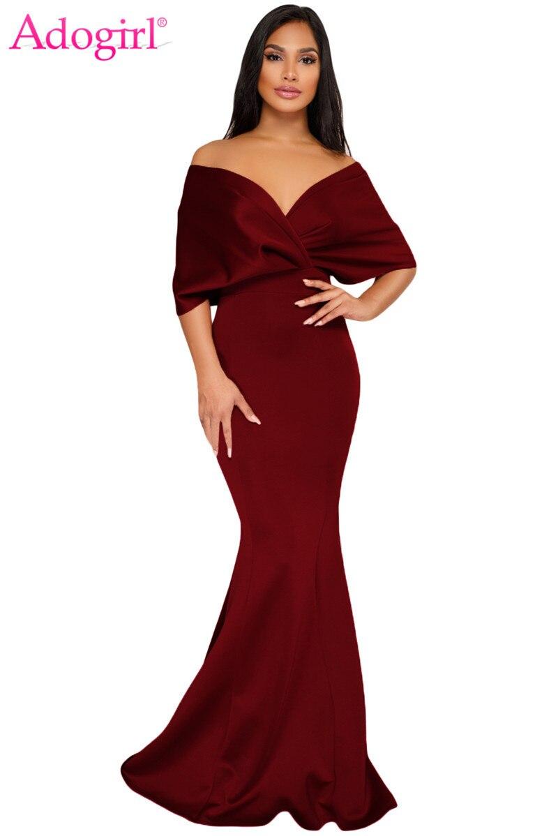 24fa0fd7147 Online Shop Adogirl Off The Shoulder Mermaid Maxi Dress Elegant V Neck Wide  Sleeves Ruched Evening Party Dresses Women Wedding Formal Dress