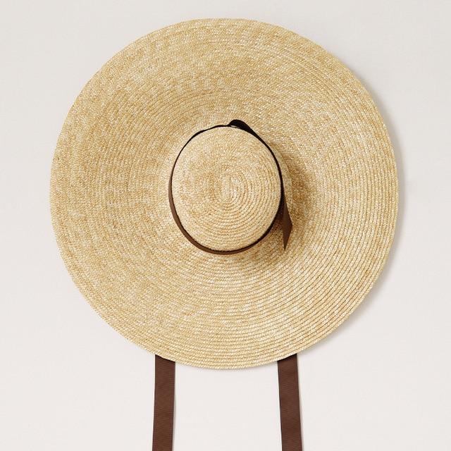 Muchique Sun Hats for Women Vintage X Large Brim Boater Hat Wheat Straw  Summer Hats Braid Beach Hat c45e69d9853