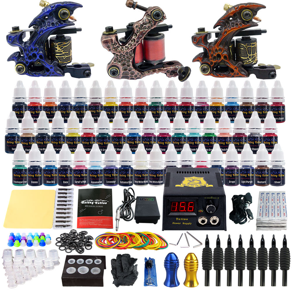 Professional Tattoo Kits Top Artist Complete Set 3 Tattoo Machine Gun Lining And Shading Tattoo Inks Power Needles Tattoo SupplyProfessional Tattoo Kits Top Artist Complete Set 3 Tattoo Machine Gun Lining And Shading Tattoo Inks Power Needles Tattoo Supply