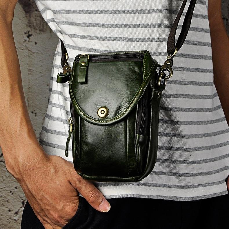Vintage 100% Cowhide Genuine Leather Casual Waist Bags Small Crossbody Bag Shoulder Bags Men Messenger Bags Mini Fanny Packs