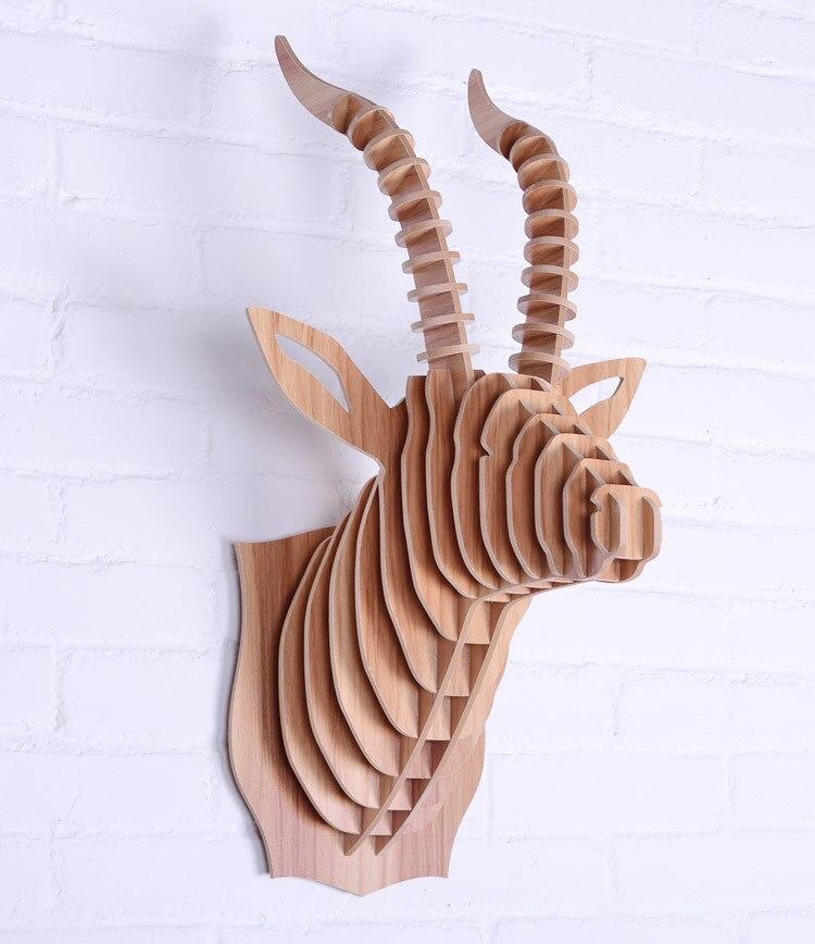 Tête de chèvre nodique pour la décoration murale, art mural de décoration de la maison, artisanat en bois, bois mural, mur de tête d'animal sculpté, articles de maison en bois
