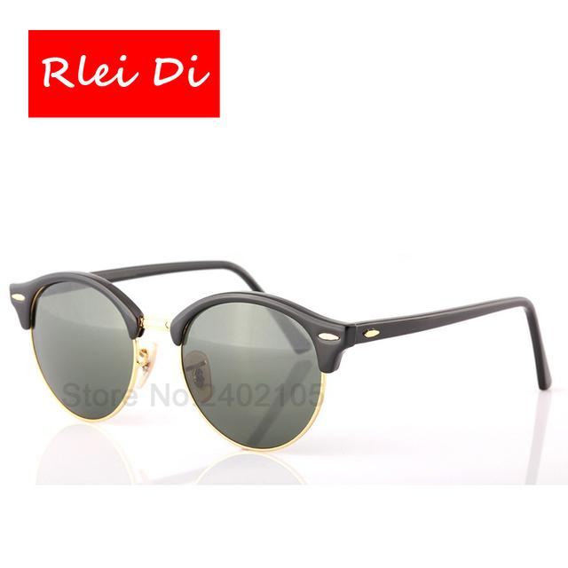 Rlei di alta qualidade homens moda rodada mulheres óculos de sol de vidro semi-quadro sem aro miorred lente uv400 óculos de sol eyewear unisex