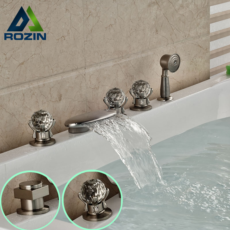 widespread 3 handles brushed nickel waterfall bathtub faucet deck mount with handheld tub shower mixer taps