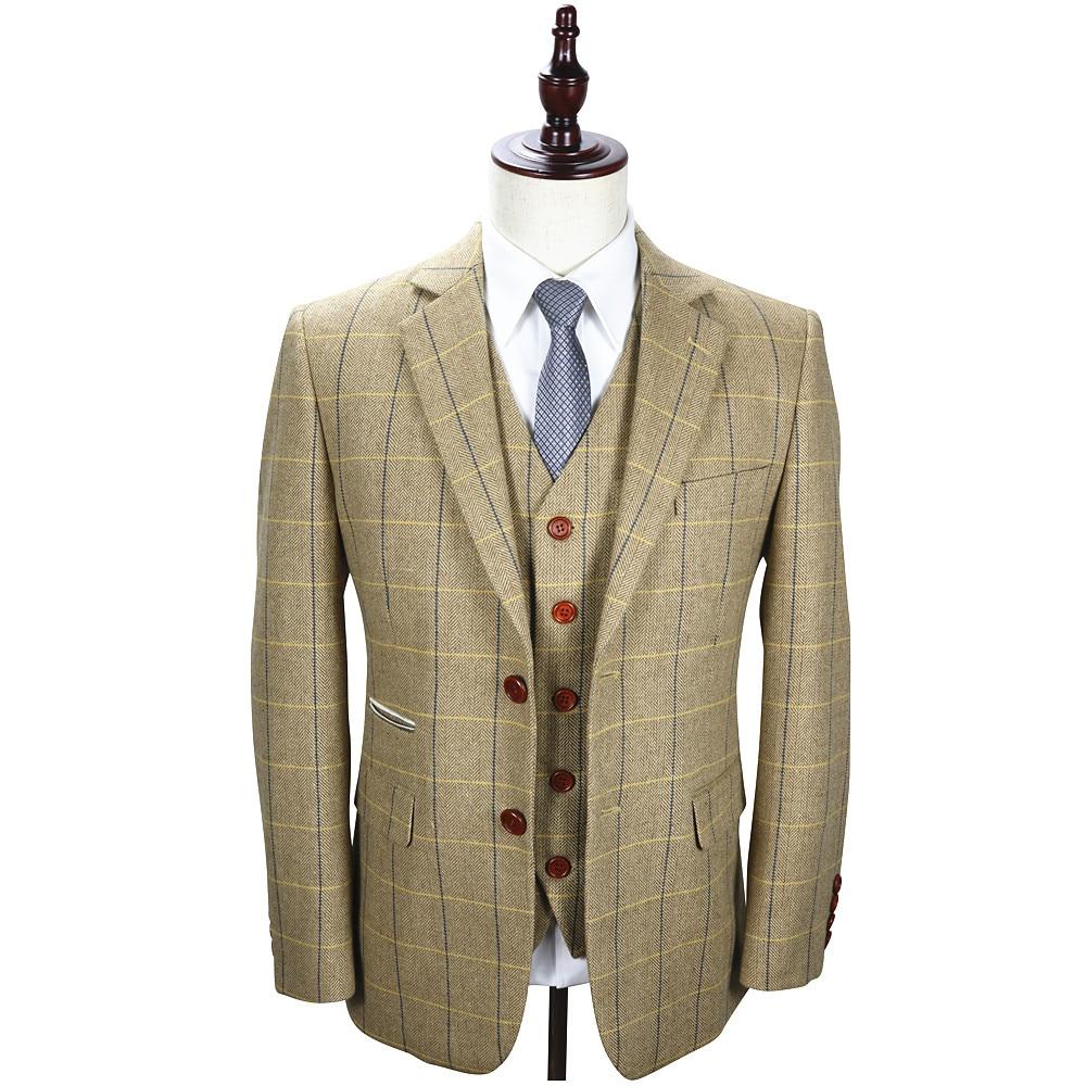Mens Suits Designers Tailored Wool Beige Tweed Checkered Vintage 3 Piece Slim Fit Suit Costume Tuxedo Wedding Groom Suit For Men