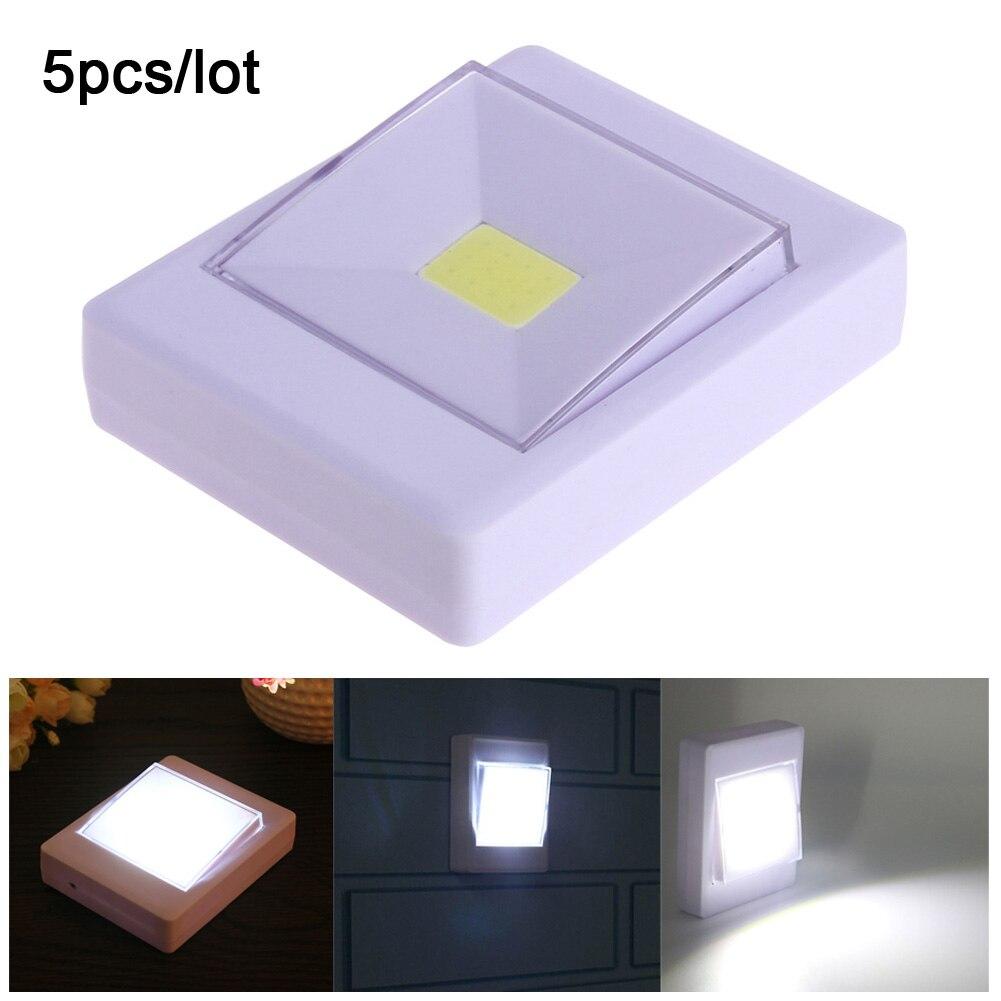 US $15.64 32% OFF|5 teile/los COB LED Schalter nachtlicht Wandleuchte  Nachtlicht Lampe 4 * Aaa batterie Betrieben mit Schalter Magic Tape für ...