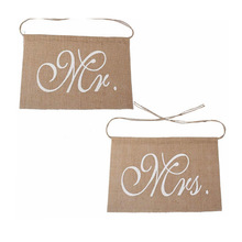 2pc/set Mr&Mrs Chair Back Flags Raw Jute Linen White Lace Banner for Wedding Party Decoration Supplies AQ124