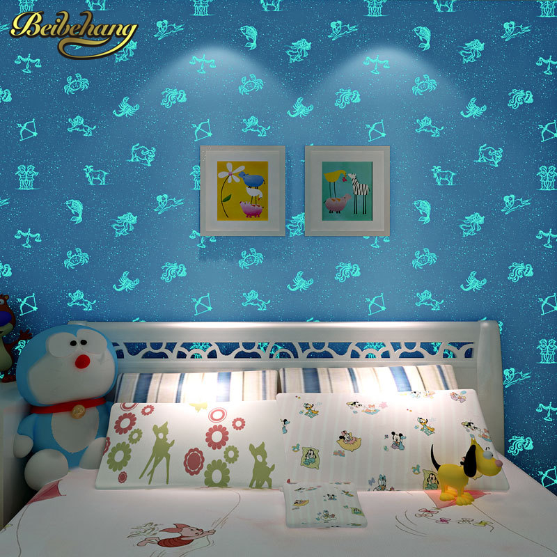 Buy beibehang sky blue mediterranean non woven wallpaper boys girls children 39 s - Leuchttapete kinderzimmer ...