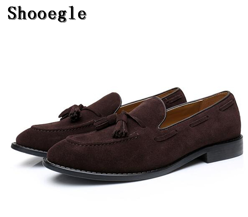 SHOOEGLE Men Fashion Handmade Tassel Loafers Shoes Slip on Gentleman Luxury Suede Casual Shoes Men Dress Business Party Shoes high quality men fashion business office formal dress breathable cow leather brogue shoes gentleman tassel slip on shoe loafers
