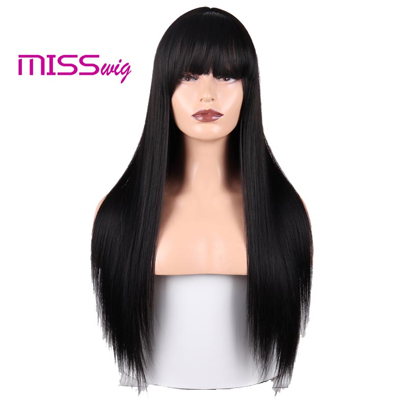 MISS WIG Synthetic Hair Long Straight 60CM 300G Black Blonde Red Head Wigs For Women Hair Extensions High Temperature Fiber