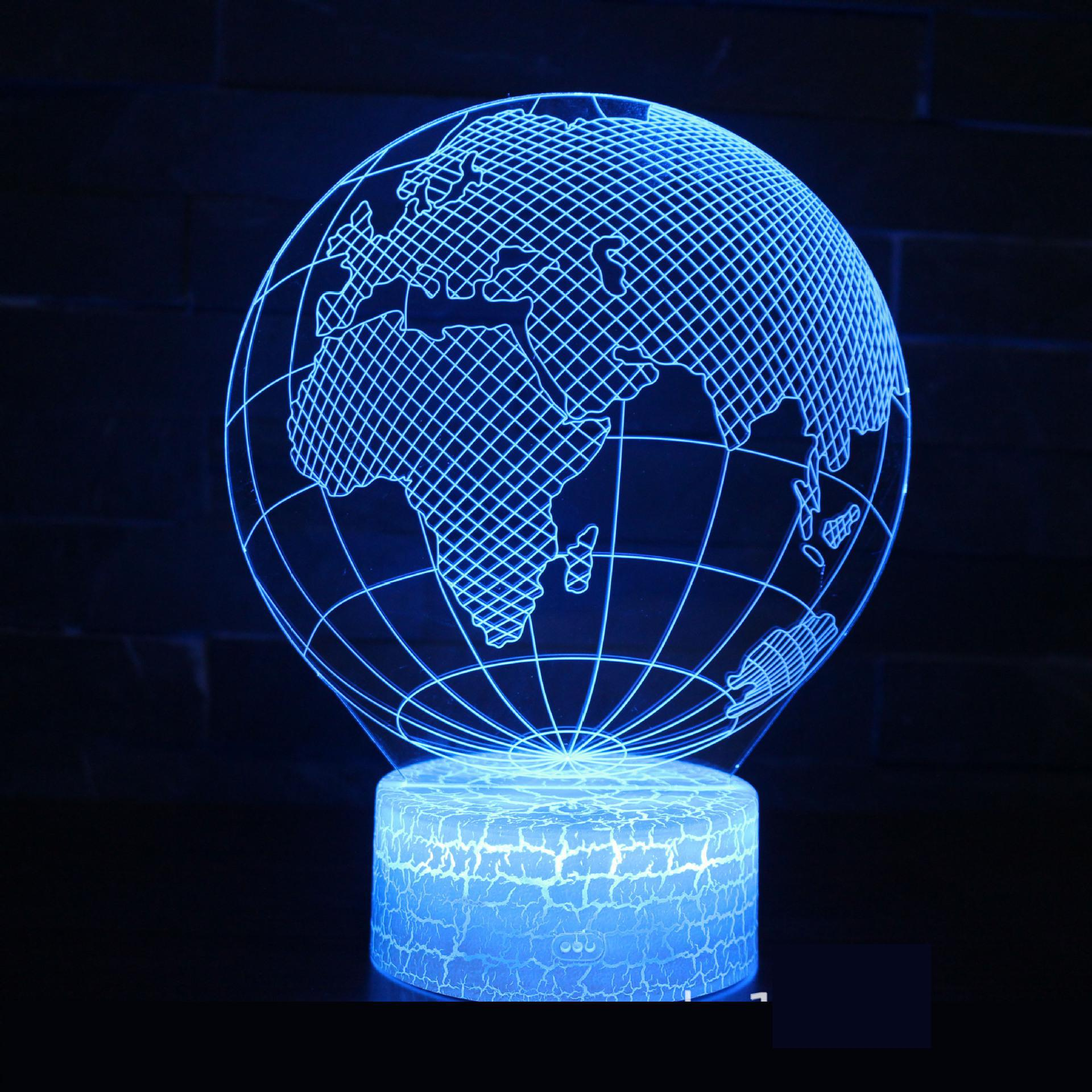 Globe Series 3d Lamp Creative Gift Visual Three Dimensional Colorful Led Night Light Remote Touch switch White base 3d Light image
