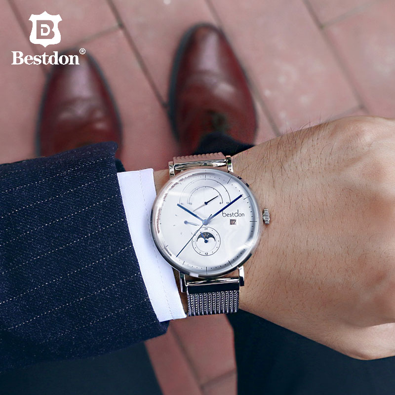 Bestdon Automatic Men's Watch 42mm large Dial Business Mechanical Wristwatches Waterproof Moonphase High end Gift For Male Brand