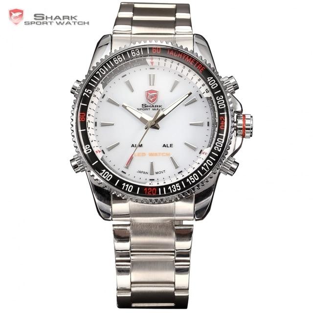 Top Brand Luxury Digital LED Analog Date Alarm Stainless Steel White Dial Wrist Shark Sport Watch Quartz Men For Gift / SH004