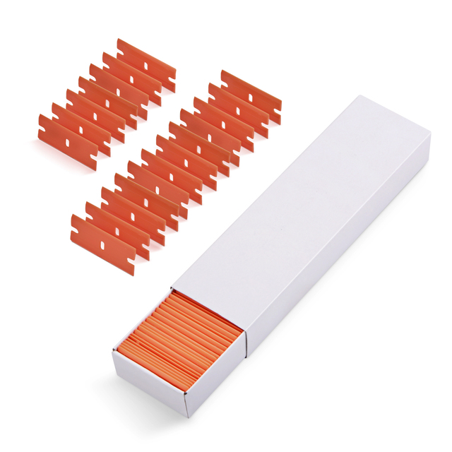 "EHDIS 100 pcs 1.5 ""คู่ขอบมีดโกนใบมีดกาวสติกเกอร์ Remover มีดโกน Scraper ฟิล์มไวนิลรถ Wrap เครื่องมือแก้วทำความสะอาดไม้กวาด"
