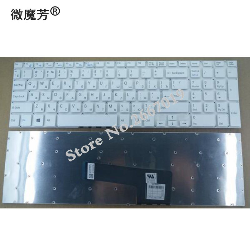 RU New For Sony For Vaio SVF15 SVF152 FIT15 SVF151 SVF153 SVF1541 SVF15E Replace Laptop Keyboard Russian White