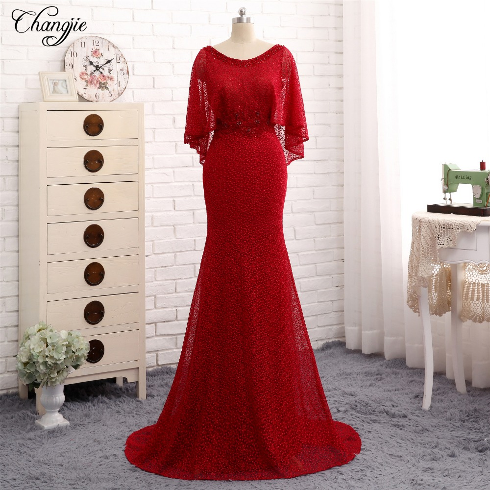 abiye New Red   Evening     Dress   2018 Scoop Floor Length Mermaid Sexy Lace Formal   Dress   Prom Gowns Vestido de festa