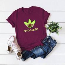 Cartoon Avocado T Shirt Women Vegan Korean Kawaii T-shirt Womens Vogue Small Fresh Casual Graphic Clothes shirt