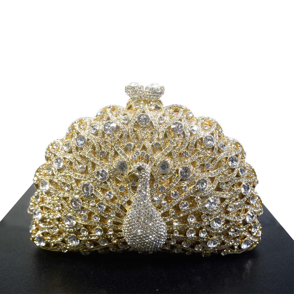 2017 New Unique Diamante Diamond Crystal Evening Bag Clutch Purse Party Metallic Gold Pochette Studded Handbag With Rhinestones the new 2016 limited rivet set auger handbag contracted with diamond crystal diamond bag
