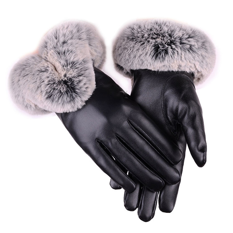 Touch Screen PU Leather Gloves Women Warm Winter Mittens Fashion Luxury Faux Fur Gants Female Leather Plush Luvas Skiing Thick