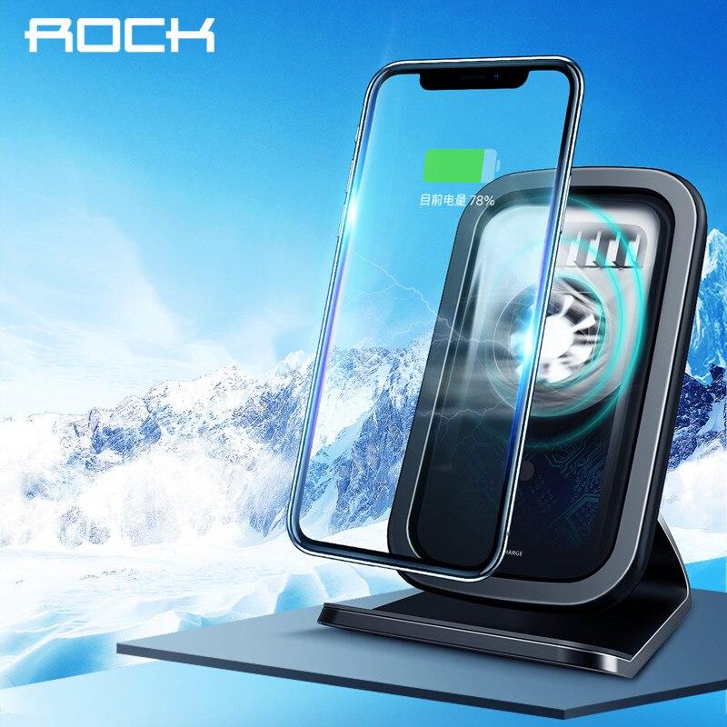 ROCK 7,5 W/10 W Qi cargador inalámbrico con ventilador de refrigeración para iPhone XS MAX XR X Samsung Galaxy s9 8 Nota 9 rápido cargador de teléfono titular